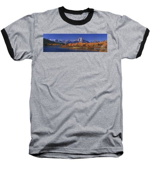 Baseball T-Shirt featuring the photograph Panorama Fall Morning Oxbow Bend Grand Tetons National Park Wyoming by Dave Welling
