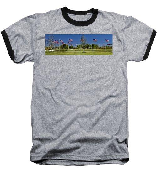 Baseball T-Shirt featuring the photograph Panorama Of Flags - Veterans Memorial Park by Allen Sheffield