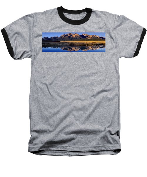 Panorama Reflections Sawtooth Mountains Nra Idaho Baseball T-Shirt by Dave Welling