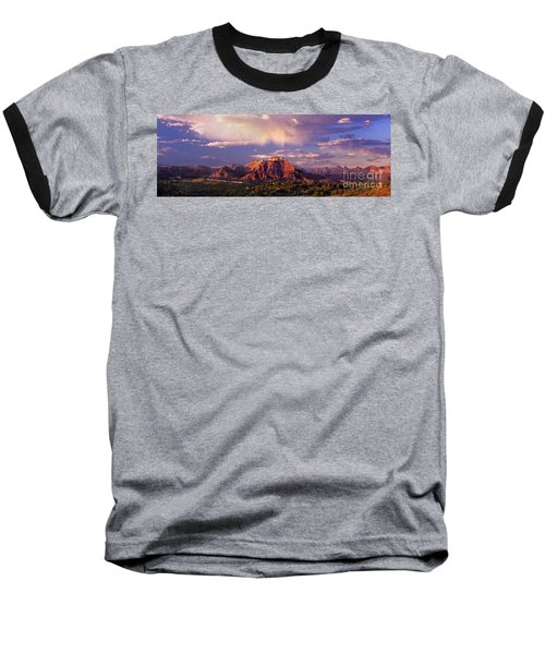 Panorama West Temple At Sunset Zion Natonal Park Baseball T-Shirt by Dave Welling