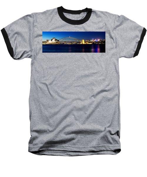 Panoramic Photo Of Sydney Night Scenery Baseball T-Shirt