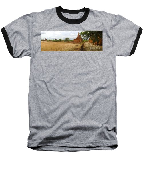 Baseball T-Shirt featuring the photograph Panoramic View Next To Dhammayazika Pagoda Built In 1196 By King Narapatisithu by Ralph A  Ledergerber-Photography