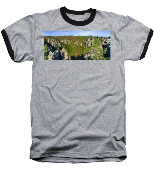 Panoramic View Of The Elbe Sandstone Mountains Baseball T-Shirt