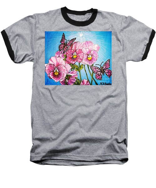 Baseball T-Shirt featuring the painting Pansy Pinwheels And The Magical Butterflies With Blue Skies by Kimberlee Baxter