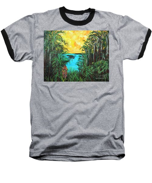 Baseball T-Shirt featuring the painting Panther Island In The Bayou by Alys Caviness-Gober