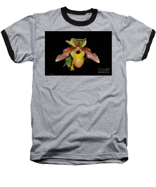 Baseball T-Shirt featuring the photograph Paphiopedilum 'summer Ice' Orchid by Susan Wiedmann