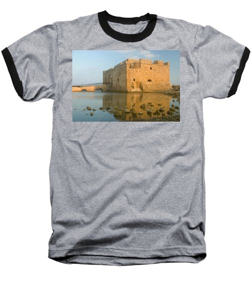 Paphos Harbour Castle Baseball T-Shirt by Jeremy Voisey