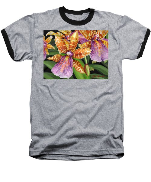 Baseball T-Shirt featuring the painting Paradise Orchid by Jane Girardot