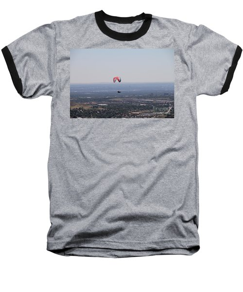 Baseball T-Shirt featuring the photograph Paragliding Over Golden by Chris Thomas