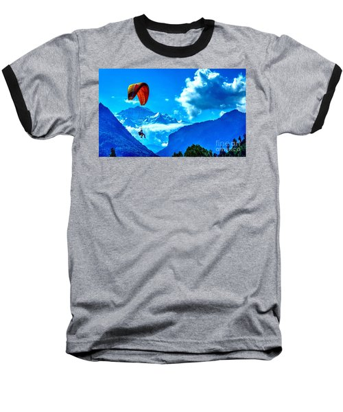 Baseball T-Shirt featuring the photograph Parasailing Swiss Alps by Joe  Ng