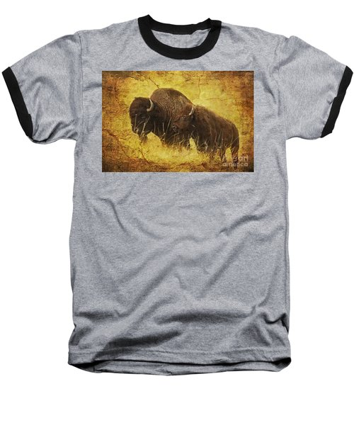 Baseball T-Shirt featuring the digital art Parent And Child - American Bison by Lianne Schneider