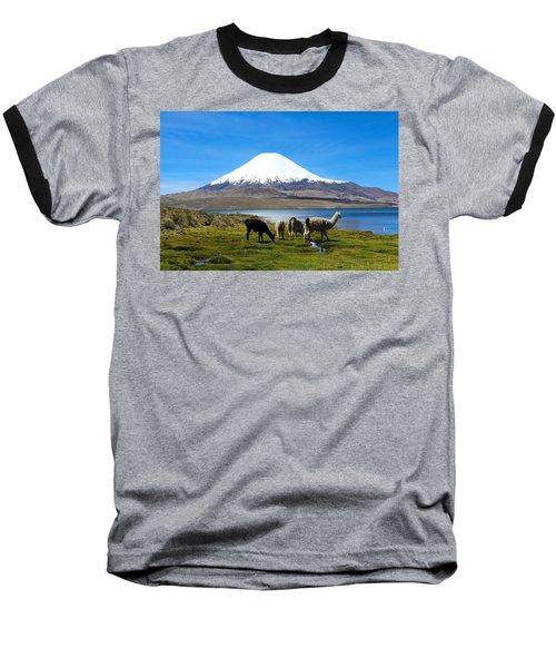 Parinacota Volcano Lake Chungara Chile Baseball T-Shirt by Kurt Van Wagner