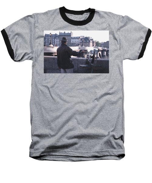 Baseball T-Shirt featuring the photograph Paris Painter Inspiration Magritte by Tom Wurl