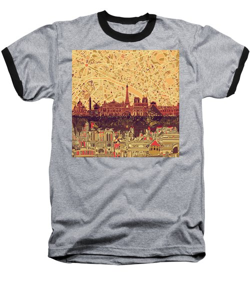 Paris Skyline Abstract Sepia Baseball T-Shirt