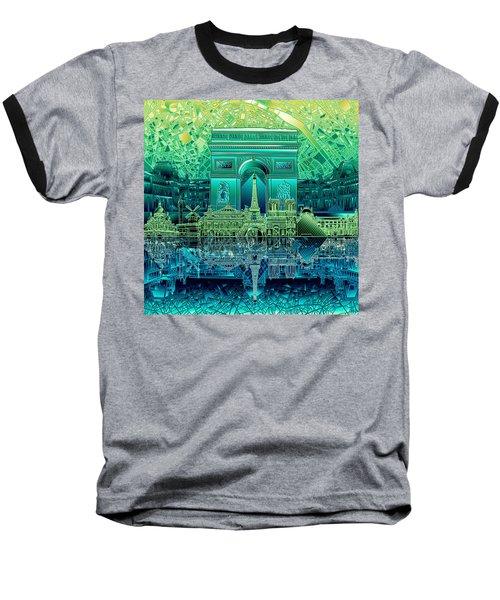 Paris Skyline Landmarks 6 Baseball T-Shirt