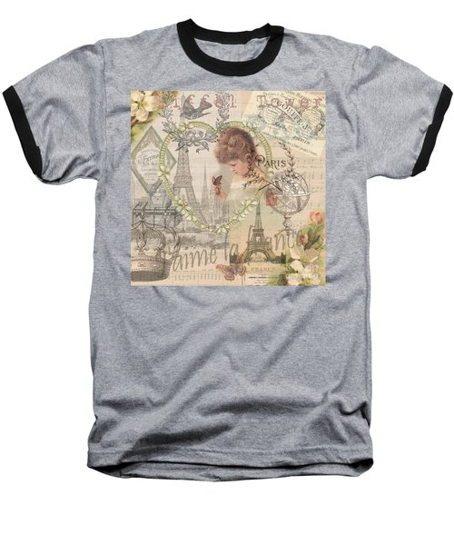 Paris Vintage Collage With Child Baseball T-Shirt