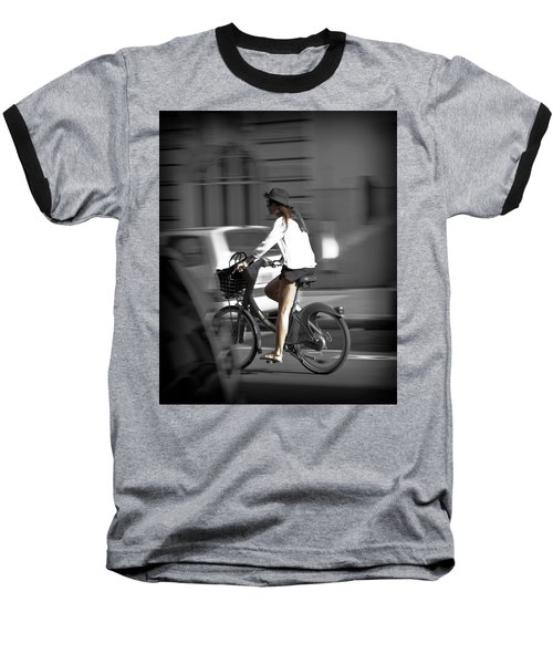 Parisian Girl Cyclist Baseball T-Shirt by Maj Seda