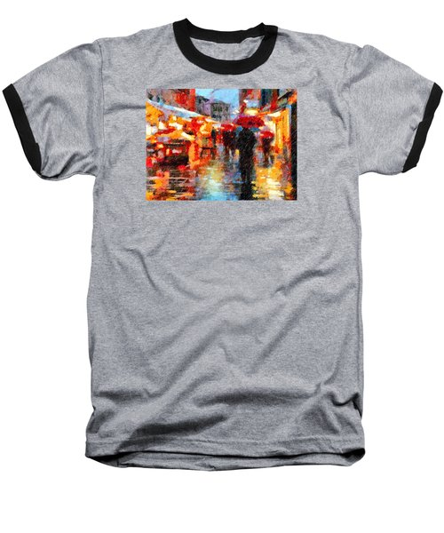 Parisian Rain Walk Abstract Realism Baseball T-Shirt