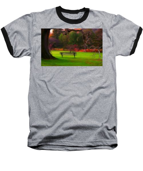 Baseball T-Shirt featuring the painting Park Bench by Bruce Nutting