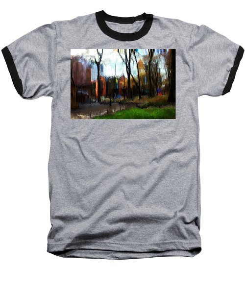 Baseball T-Shirt featuring the mixed media Park Block I by Terence Morrissey