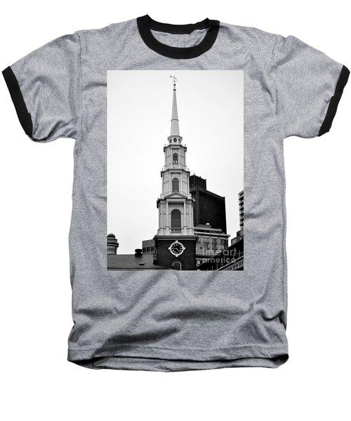 Park Street Church Boston Black And White Baseball T-Shirt