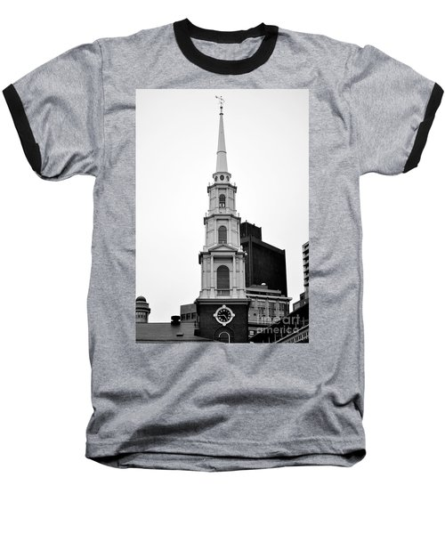 Park Street Church Boston Black And White Baseball T-Shirt