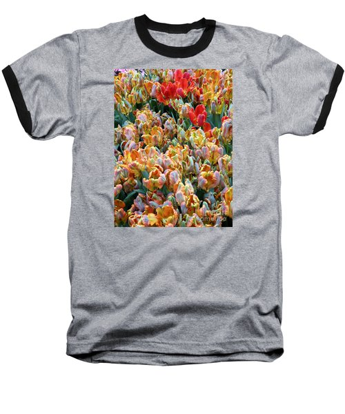 Parrot Tulips Baseball T-Shirt by Tanya  Searcy