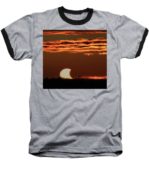 Pac-man Sun Baseball T-Shirt by Richard Engelbrecht