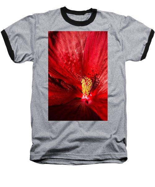Passionate Ruby Red Silk Baseball T-Shirt