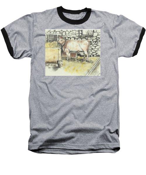 Cow In A Barn Baseball T-Shirt by Francine Heykoop
