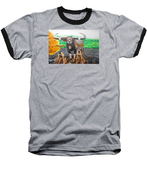 Baseball T-Shirt featuring the painting Paths In The Soil  by Lazaro Hurtado