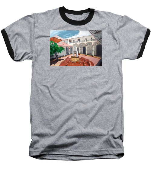 Baseball T-Shirt featuring the painting Patio Colonial by Lazaro Hurtado