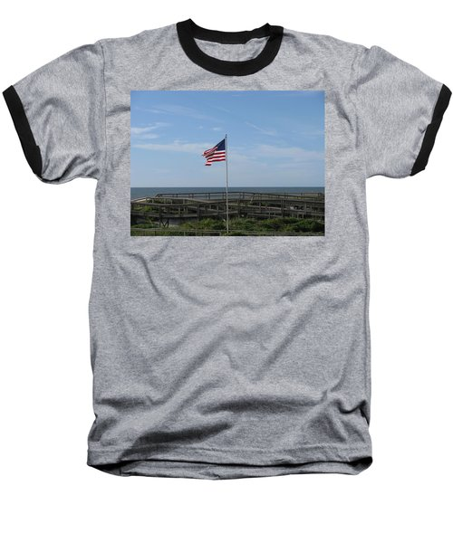 Patriotic Beach View Baseball T-Shirt