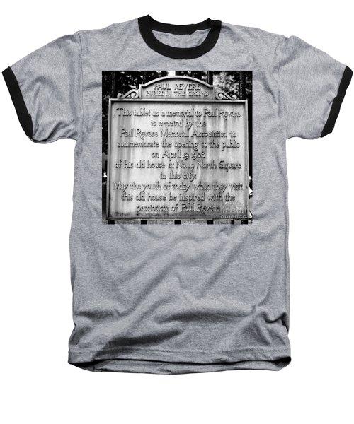 Paul Revere Burial Plaque Boston Massachusetts Baseball T-Shirt