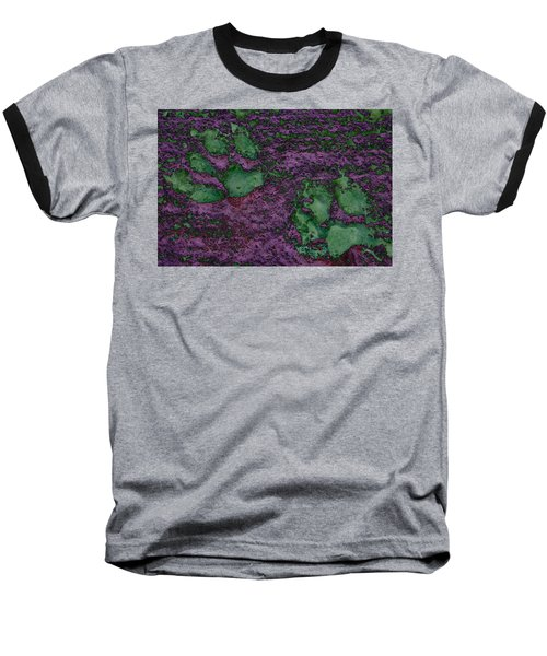 Paw Prints In Green And Mauve Baseball T-Shirt