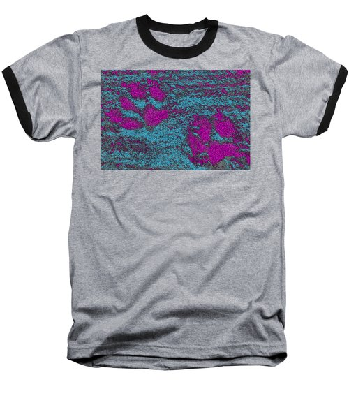 Paw Prints In Pink And Turquoise Baseball T-Shirt