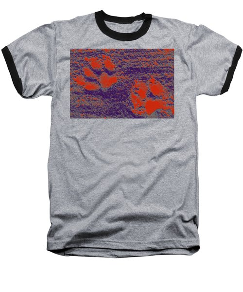 Paw Prints In Red And Purple Baseball T-Shirt