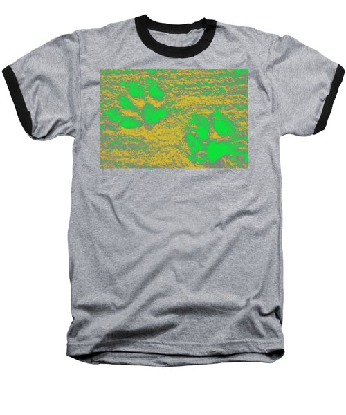 Paw Prints In Yellow And Lime Baseball T-Shirt