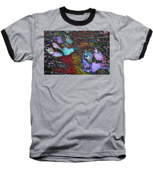 Paw Prints Lilac And Turquoise Pads Baseball T-Shirt