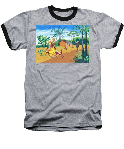 Baseball T-Shirt featuring the painting Paysage Du Sud Du Cameroon by Emmanuel Baliyanga