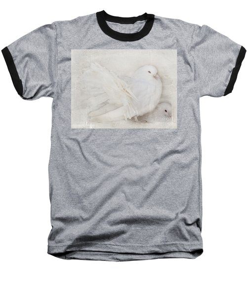 Peaceful Existence White On White Baseball T-Shirt by Barbara McMahon