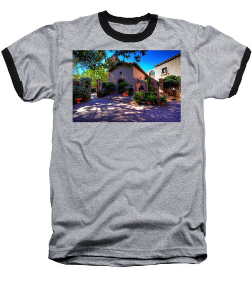 Peaceful Plaza Baseball T-Shirt by Dave Files