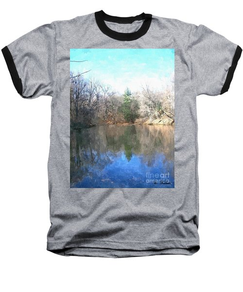 Baseball T-Shirt featuring the painting Peaceful Retreat 2 by Sara  Raber