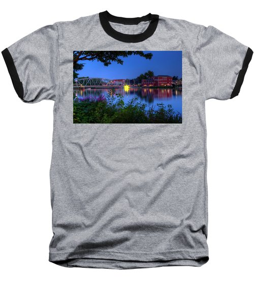 Peaceful River Baseball T-Shirt by Dave Files