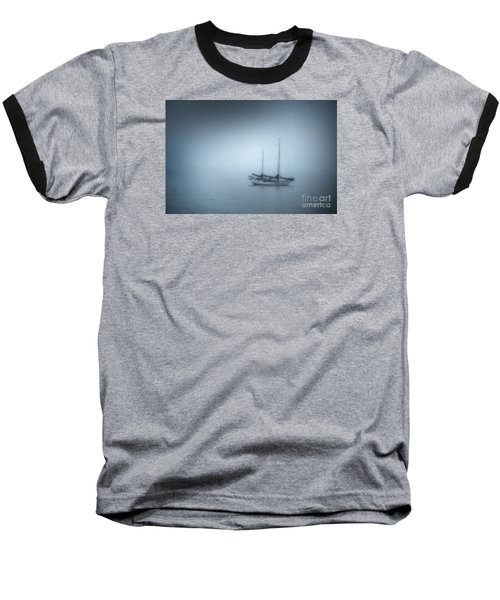 Peaceful Sailboat On A Foggy Morning From The Book My Ocean Baseball T-Shirt