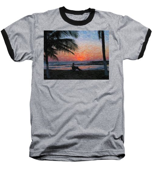 Peaceful Sunset Baseball T-Shirt by David Gleeson