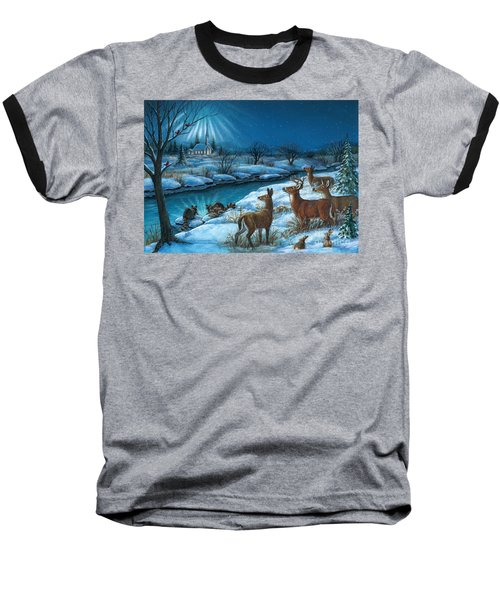 Peaceful Winters Night Baseball T-Shirt