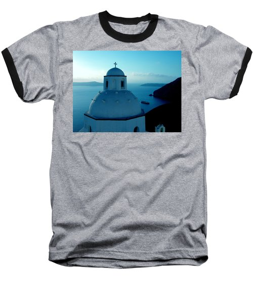 Peacefull Santorini Greek Island  Baseball T-Shirt
