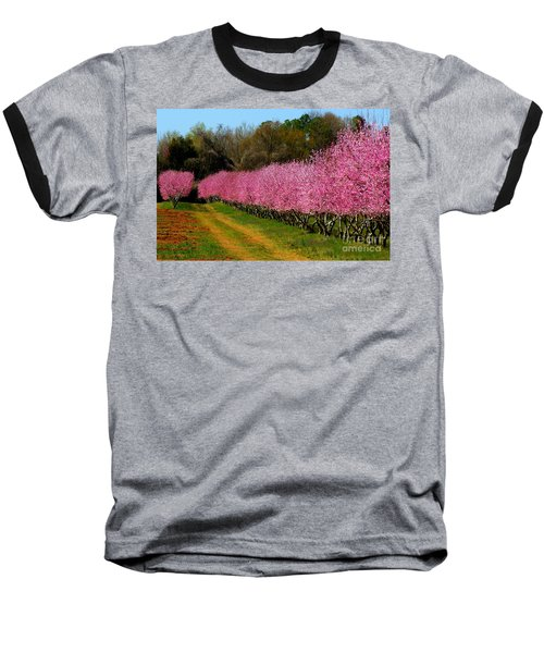 Baseball T-Shirt featuring the photograph Peach Orchard In Carolina by Lydia Holly