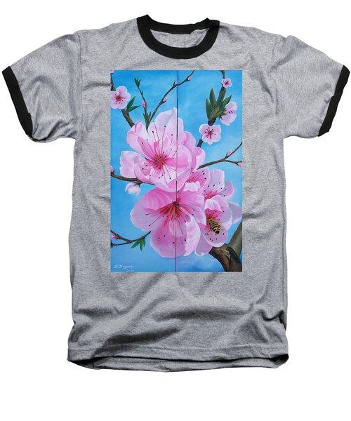 Peach Tree In Bloom Diptych Baseball T-Shirt